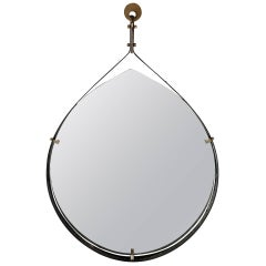 Black and Gold Italian Mirror, circa 1960