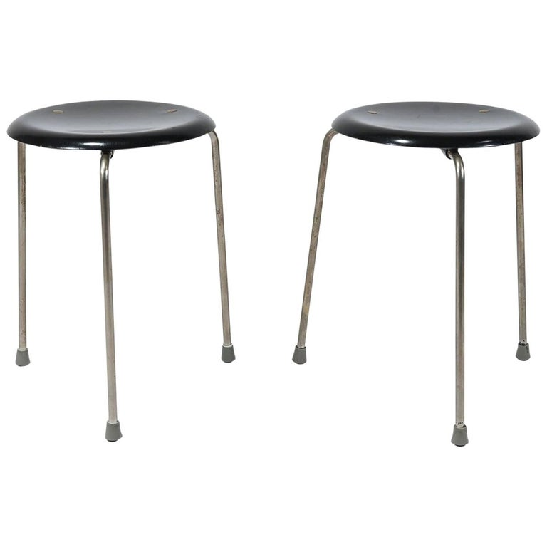 Pair Of Dot Stools Model 3107 By Arne Jacobsen For Fritz