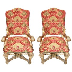 Pair of Louis XIV Carved and Gilded Chairs