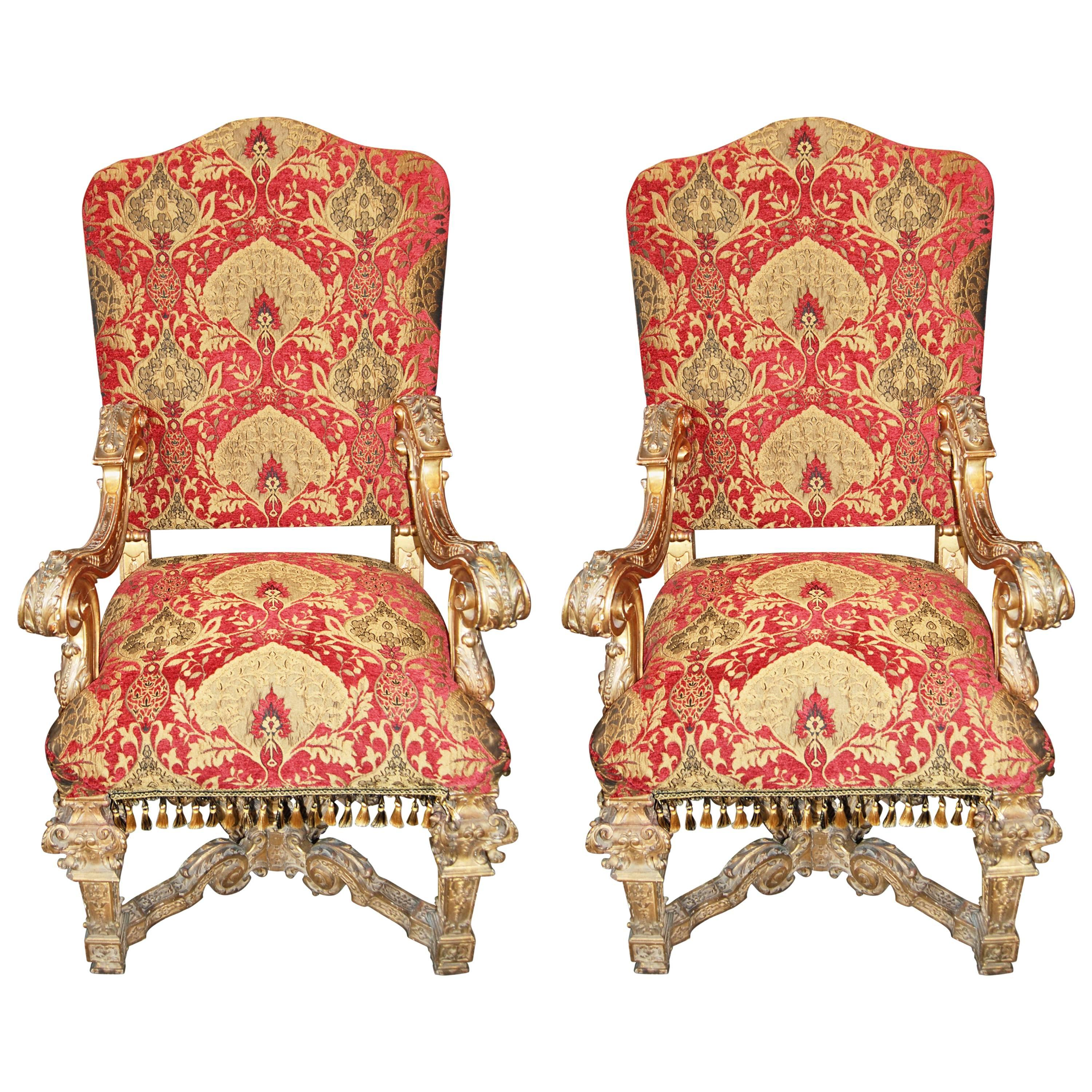 Pair Of Louis XIV Carved And Gilded Chairs 1