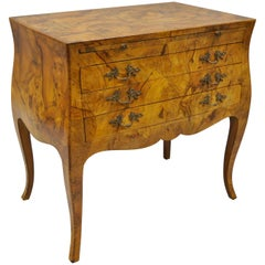 Italian Patchwork Burl Wood Olive Wood French Bombe Commode Chest Dresser