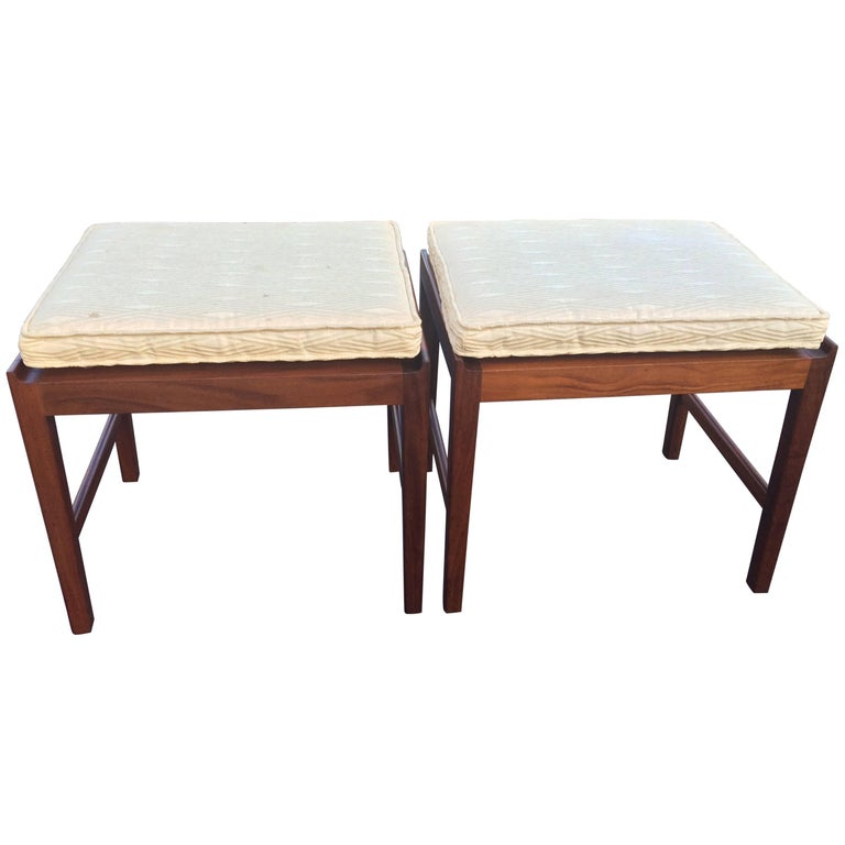 Pair of Signed Swedish Teak Stools with Cushions