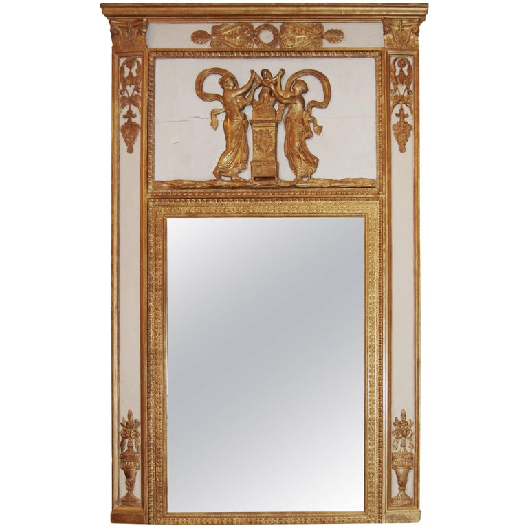Exceptional Neoclassical Trumeau Mirror For Sale