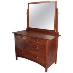Antique Arts & Crafts Gustav Stickley Dresser with Mirror, circa 1910