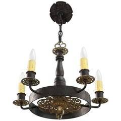 Antique 1920s Small-Scale Spanish Revival Chandelier