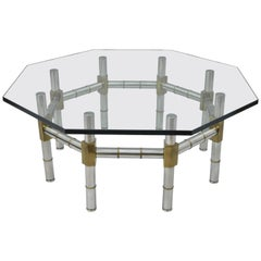 Mid-Century Modern Chrome and Brass Faux Bamboo Glass Top Octagonal Coffee Table