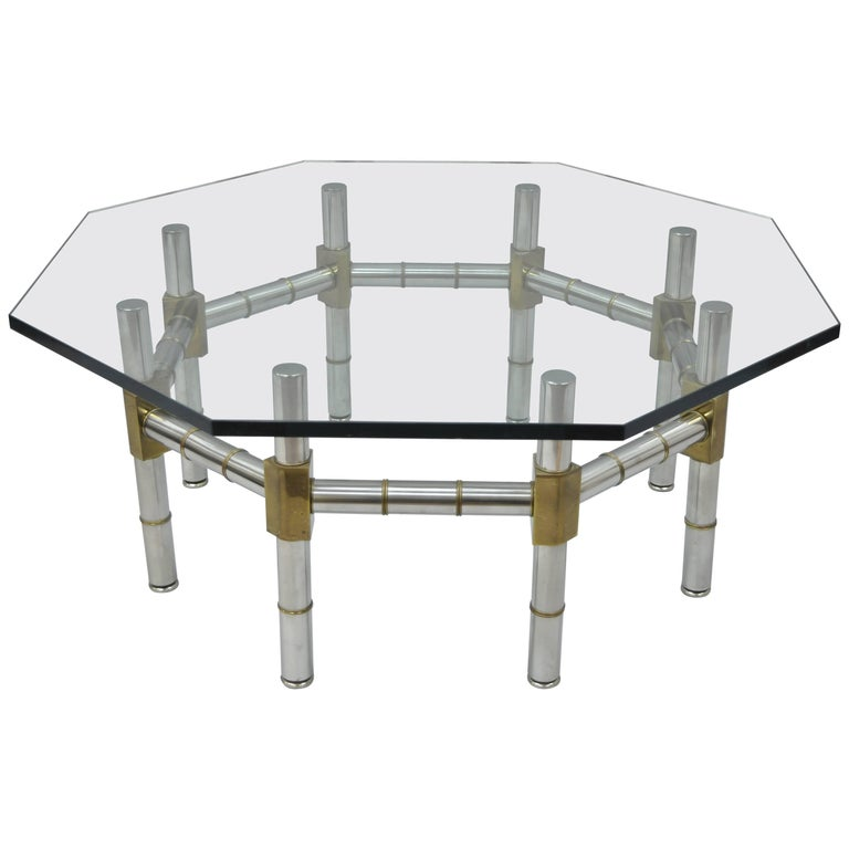 Mid-Century Modern Chrome and Brass Faux Bamboo Glass Top Octagonal Coffee Table For Sale