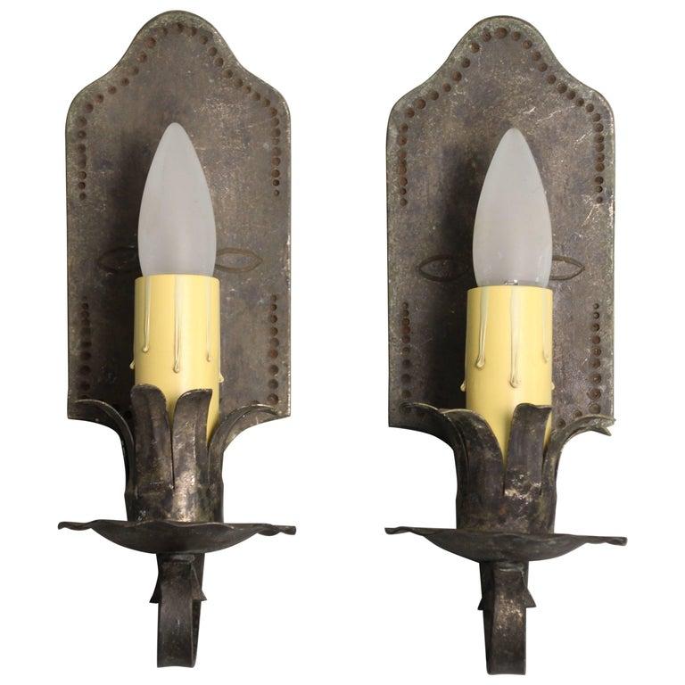 Antique 1920s Wrought Iron Single Light Sconces