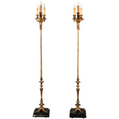 Antique Pair of Outstanding Elegant 1920s Brass Torchieres Standing Lights