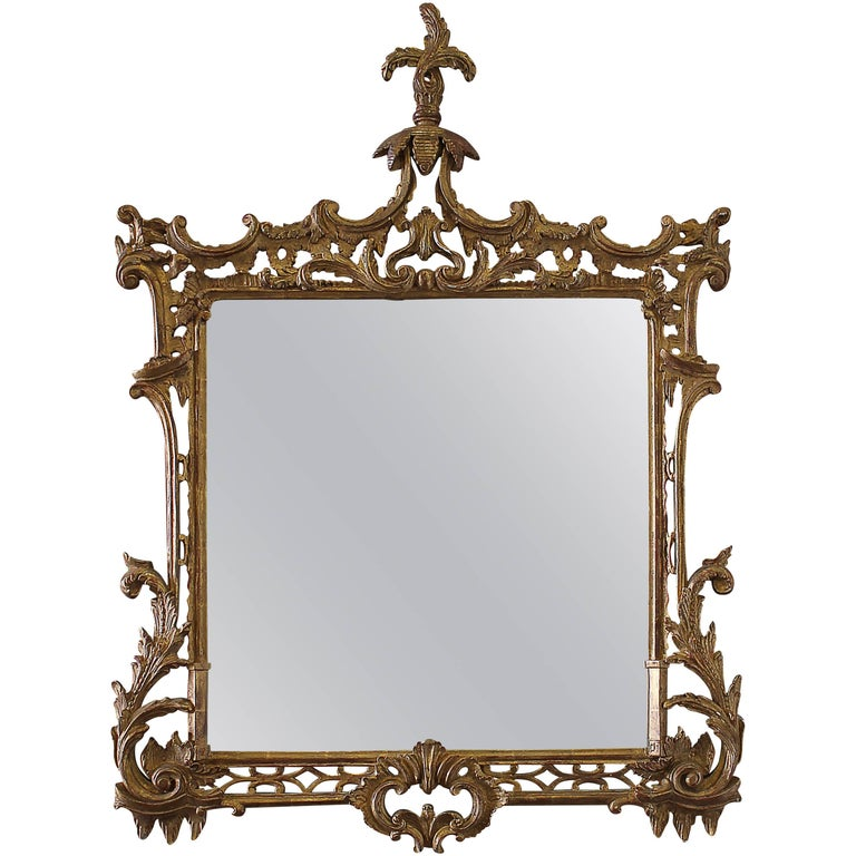 19th Century Carved Chippendale Style Gilt Mirror