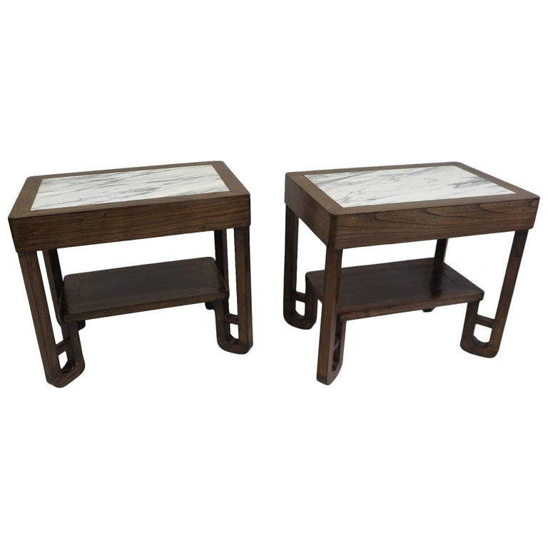 Art Deco Marble-Top Side Tables