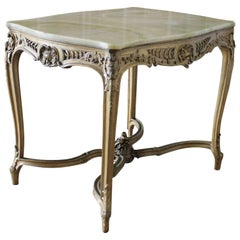 19th Century Rococo Gilt and Stone Top Center Table