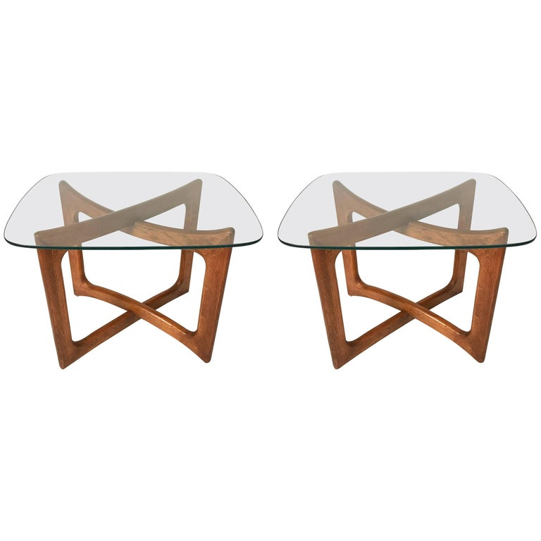 Pair of Sculptural Adrian Pearsall for Craft Associates Walnut and Glass Tables