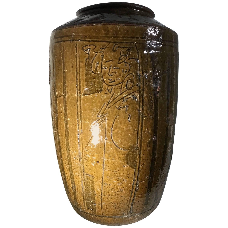 Large mid century modern thickly glazed bottle form striped large mid century glazed chinese stoneware vase reviewsmspy