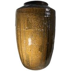 Large-Mid Century Glazed Chinese Stoneware Vase