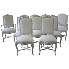 Set of Ten Louis XV Painted and Upholstered Dining Chairs