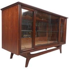 Small Mid-Century Modern Walnut Sliding Door Display Cabinet