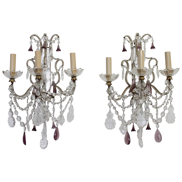 Beaded Crystal Wall Sconces : Pair of Beaded Arm Antique Mirror Back Crystal Sconces at 1stdibs