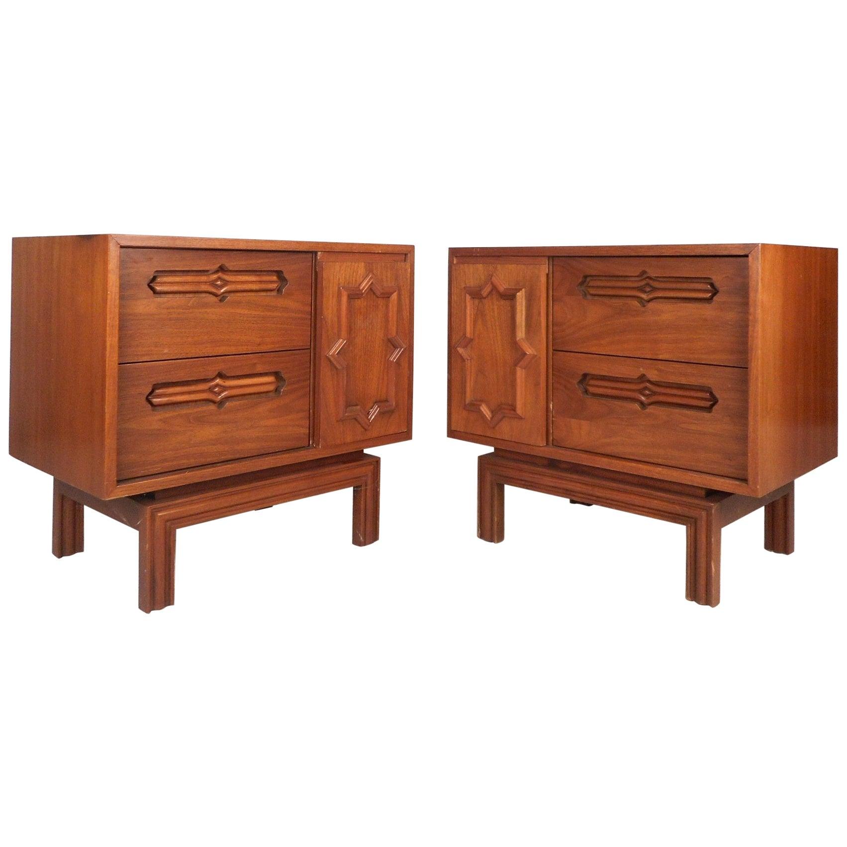 Pair of Mid-Century Modern Walnut Nightstands