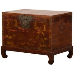 Red Lacquer Antique Chinese Trunk Kuang Hsu Period, circa 1875