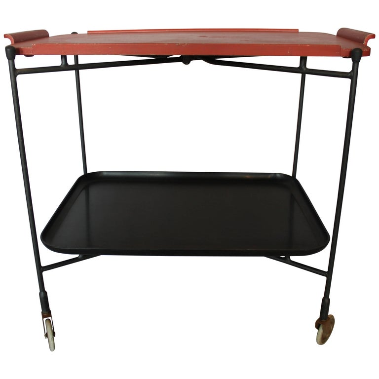 Mid-Century Modern Asian Inspired Bar Tea Cart