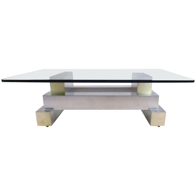 Vintage Modern Aluminium and Brass Coffee Table in the Manner of Paul Evans