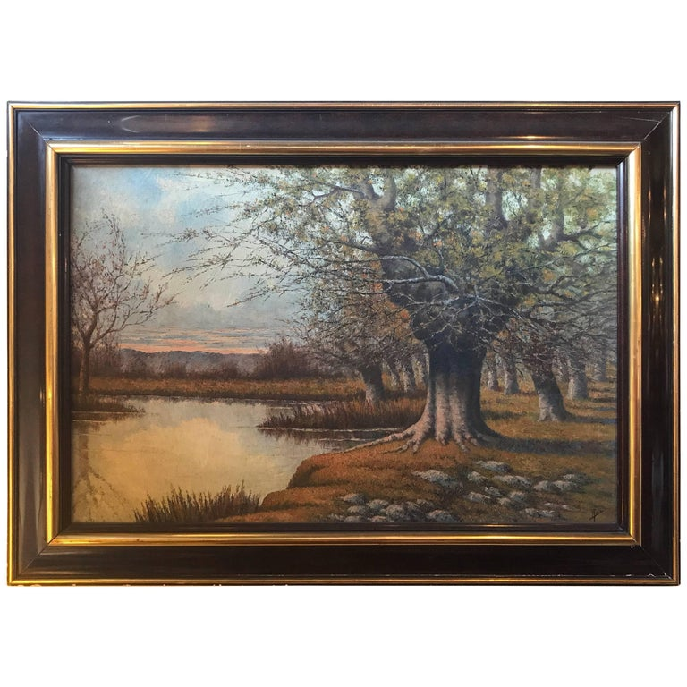 Framed Oil on Canvas Painting or a Lake Landscape Signed and Dated, 1910