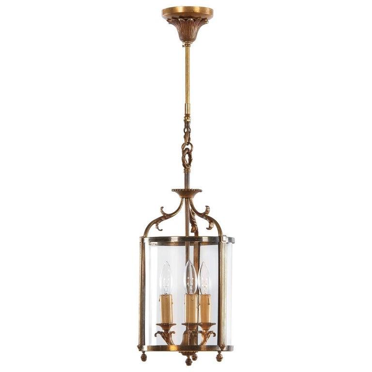 Louis XVI Style Brass Lantern, France, 1940s