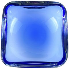 Oggetti Murano Sommerso Cobalt Blue Italian Art Glass Decorative Bowl