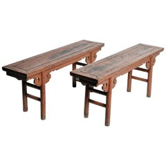 Qing Dynasty Chinese Bench with Original Ox Blood Lacquer