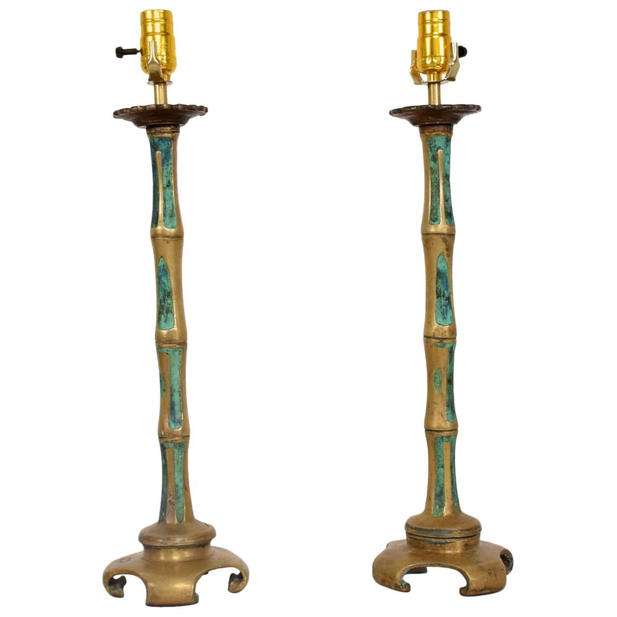 Pair of 1950s Pepe Mendoza Bamboo Faux Table Lamps