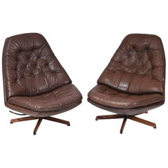 Pair of Madsen & Schubel Model MS68 Leather Swivel High Back Lounge Chairs