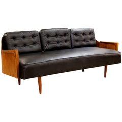 Mid-Century Modern Danish Walnut and Black Vinyl Curved Back Sofa Retro, 1960s