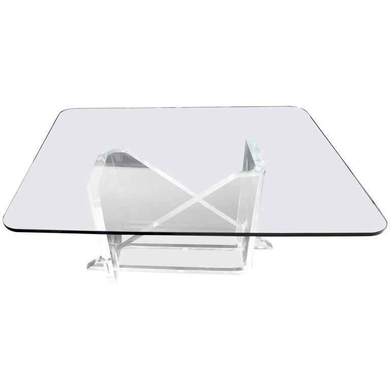 Mid-Century Modern Rare Signed Lucite Glass Dining Table Gary Gutterman, 1970s