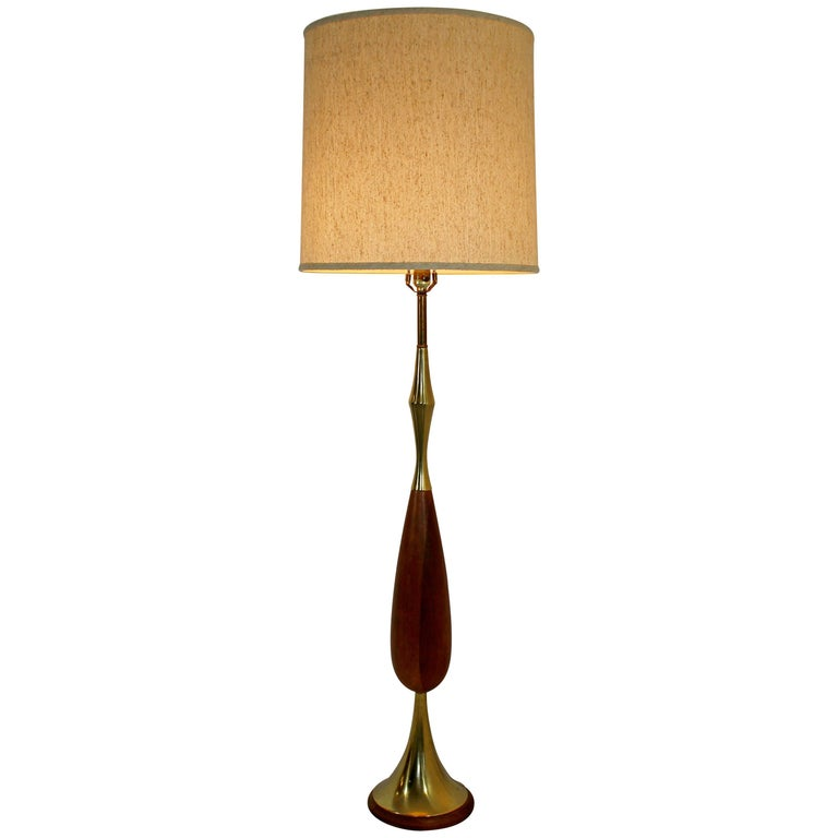 Mid Century Modern Laurel Brass And Wood Floor Lamp With Original