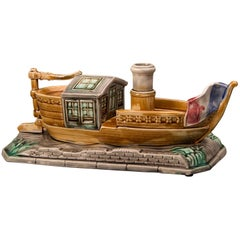 Antique French Majolica Barbotine Ceramic Boat and Cover, circa 1885