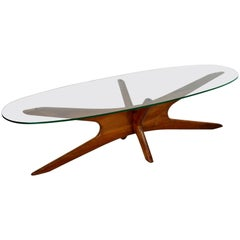 Mid-Century Modern Rare Adrian Pearsall Coffee Table, 1960s, Glass and Walnut