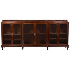 French Mahogany Six-Door Bookcase with Marble Top, circa 1920