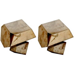 "Pair of Parchment ""Rock"" Design Side Tables"