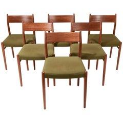 Set of Six Arne Vodder for Sibast Furniture #418 Teak Dining Chairs