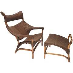 Pair of Graphic Rattan Chairs with Ottomans