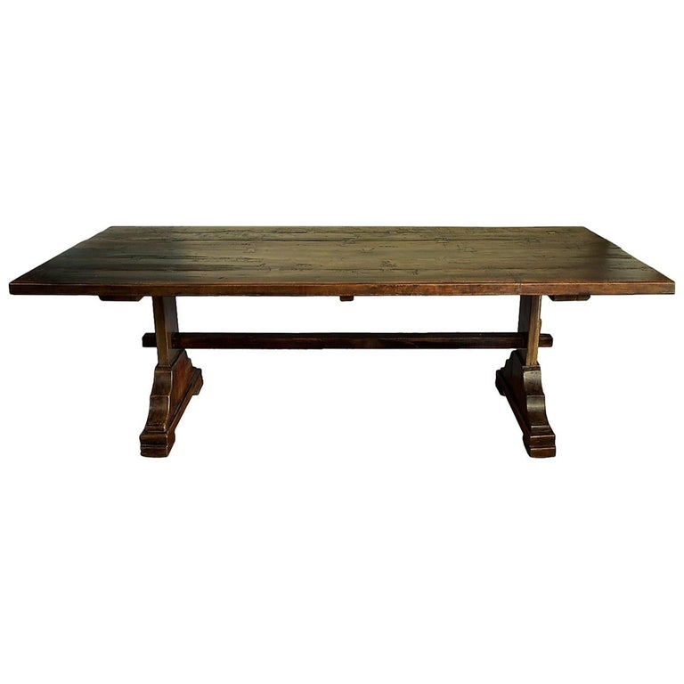 Trestle dining table teakwood rustic antique style for for Rustic trestle dining table