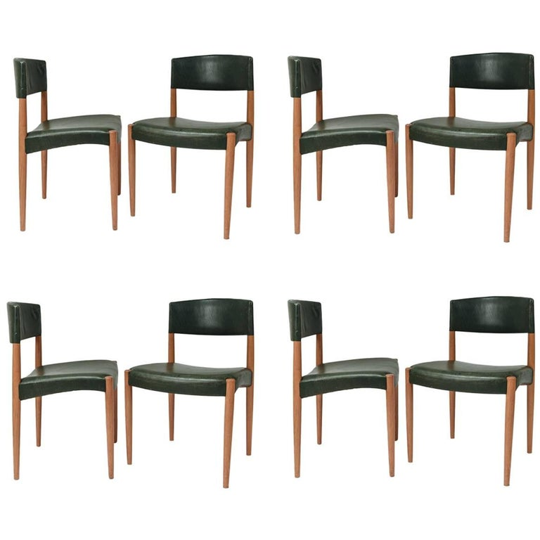 Set of Eight Ludvig Pontoppidan Leather and Oak Side Chairs