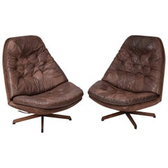 Pair of Madsen and Schubel Model Ms68 Leather Swivel High Back Lounge Chairs