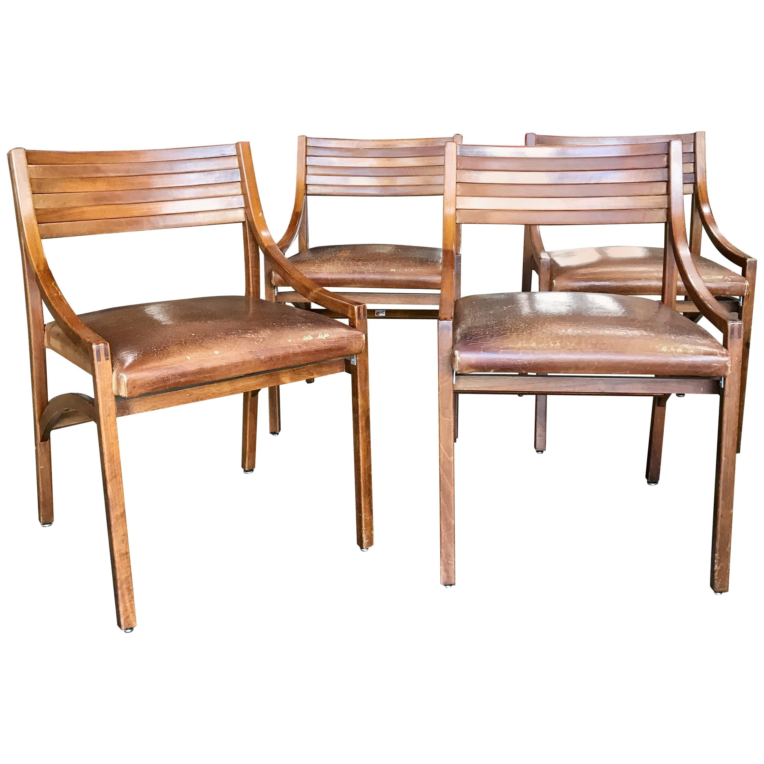 Ico Parisi Mod 110, Italian Walnut and Leather Dining Chairs 1959