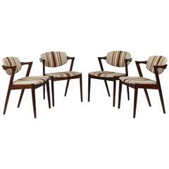 """Set of Four Kai Kristiansen Model 42 Rosewood """"Z"""" Chairs"""