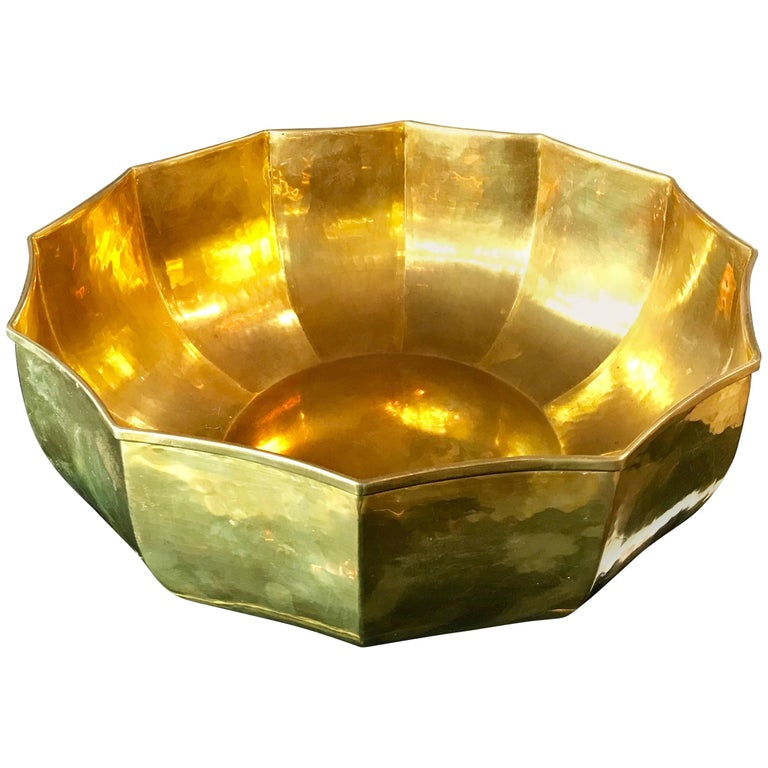 1960s Italian Stunning Brass Bowl For Sale