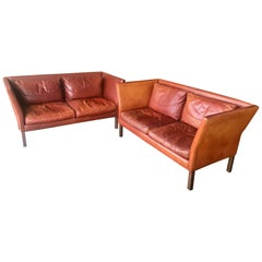 Mogens Hansen Sofas. From Denmark Pair of Cognac Leather Matching Sofas
