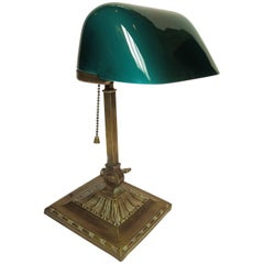 Early Emeralite Single Shade Desk or Library Lamp