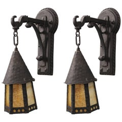 Antique Pair of Spanish Revival Outdoor Wall Lanterns with Slag Glass